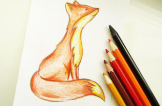 Рыжая лисичка карандашом