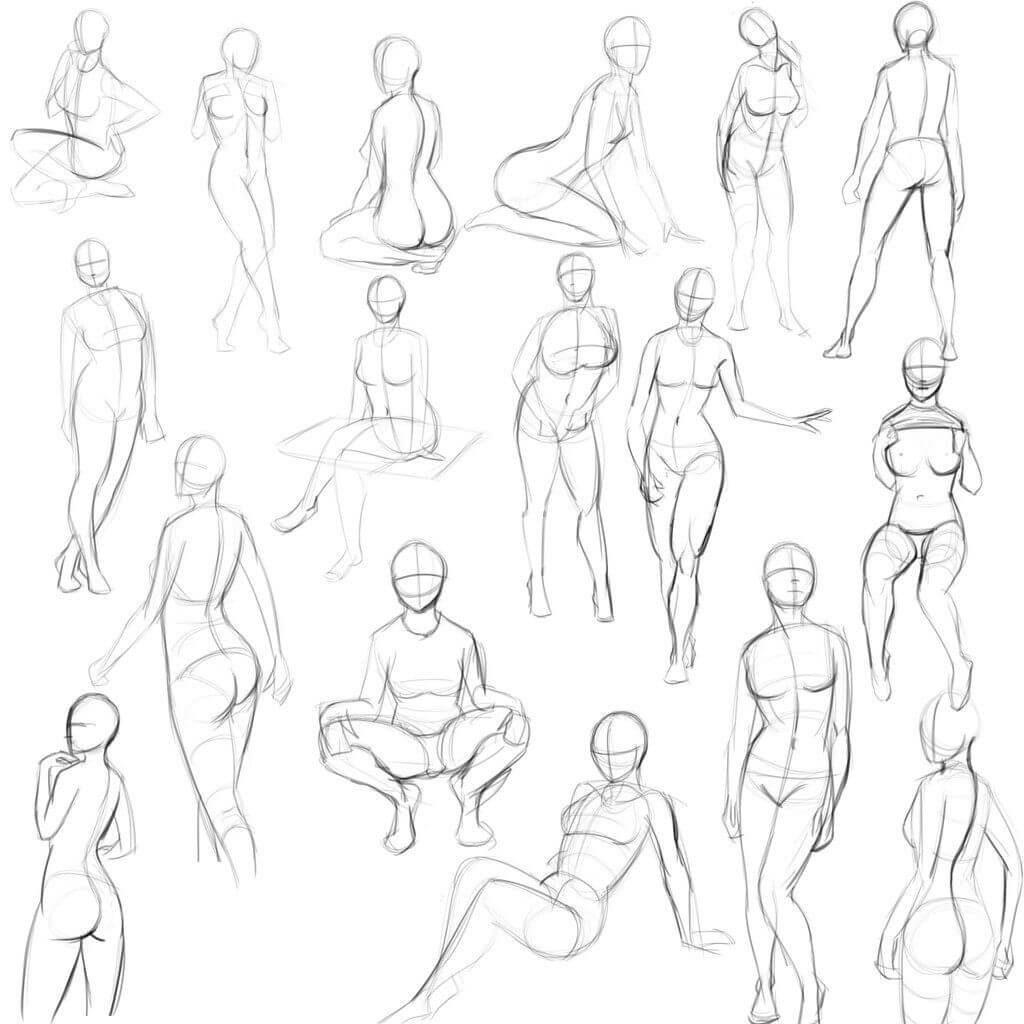анатомия позы для срисовки