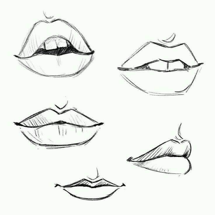 рисунки для срисовки губы легкие