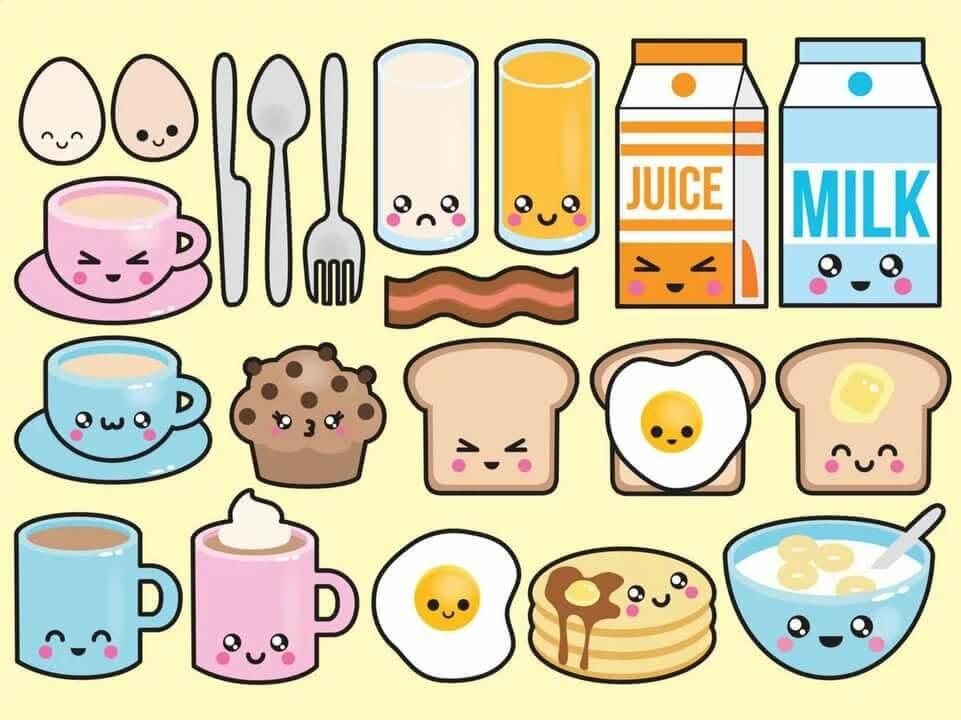 рисунки для срисовки легкие еда няшная