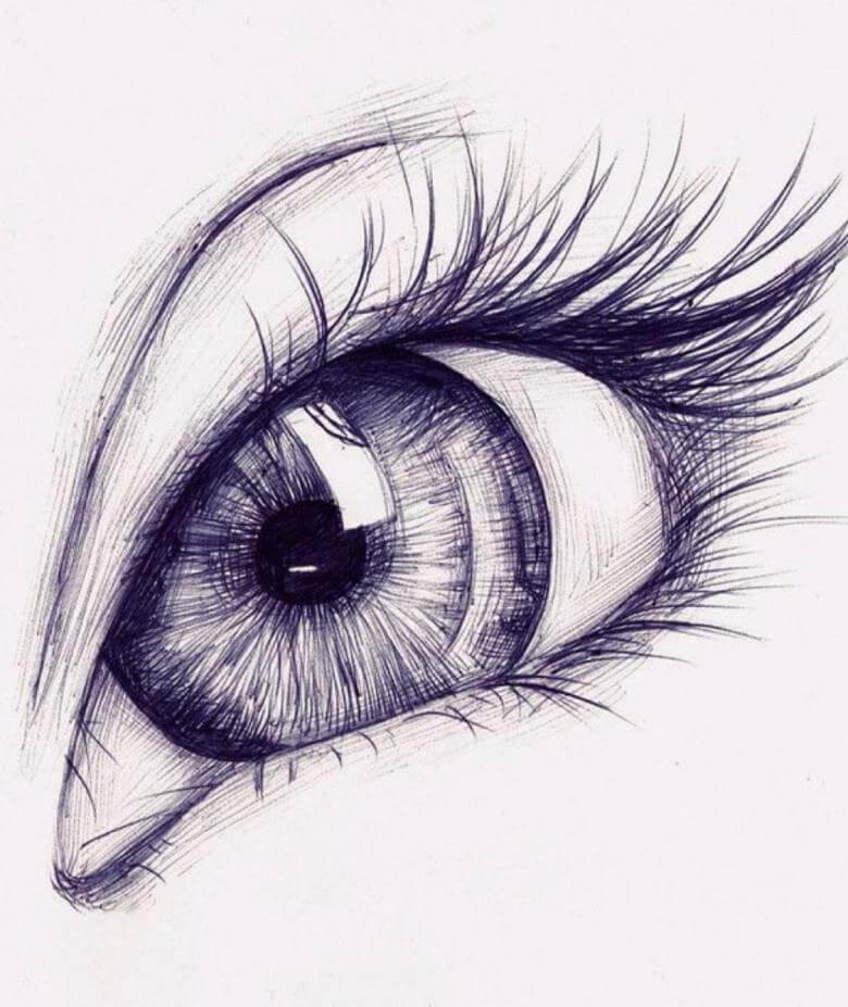 рисунки для срисовки легкие глаза