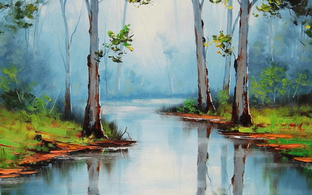 рисунки пейзажа природы для срисовки