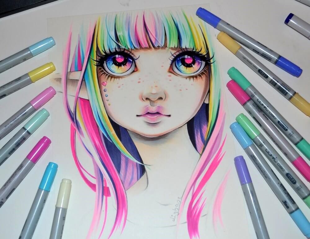 красивые рисунки маркерами для срисовки легкие
