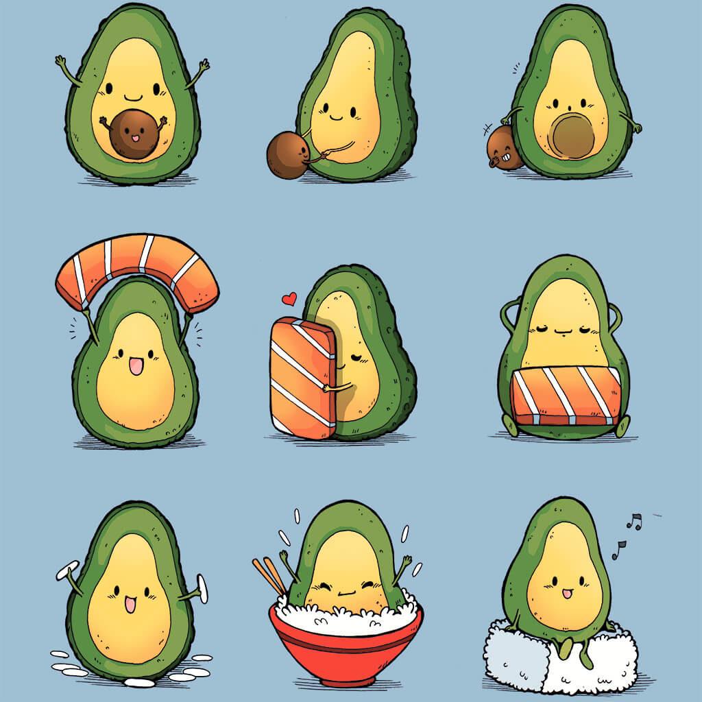 авокадо для срисовки милое