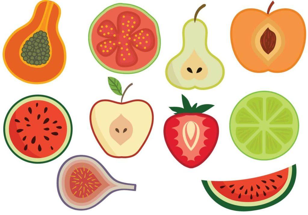 для срисовки фрукты и овощи