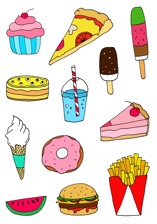 прикольные рисунки для срисовки еда