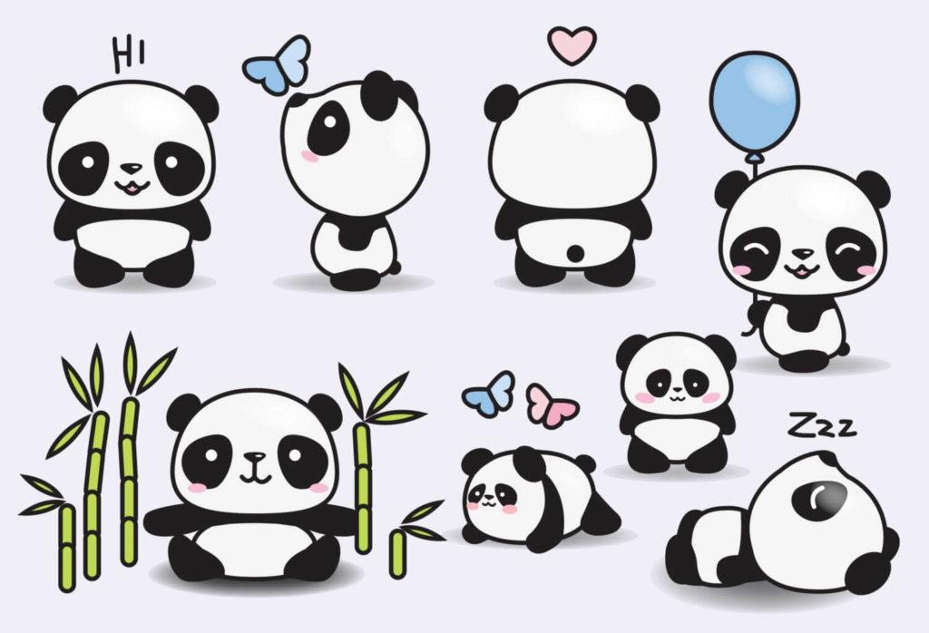милые панды для срисовки