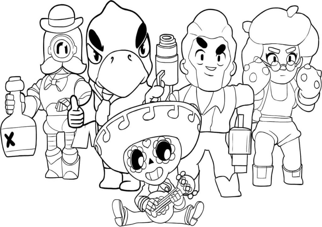 картинки персонажей из бравл старс для срисовки