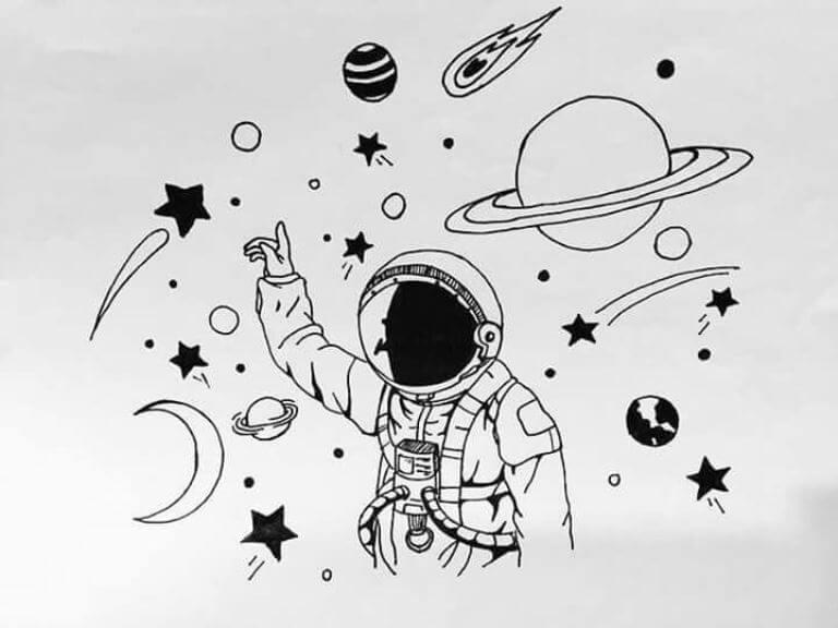 рисунки для срисовки космос легкие