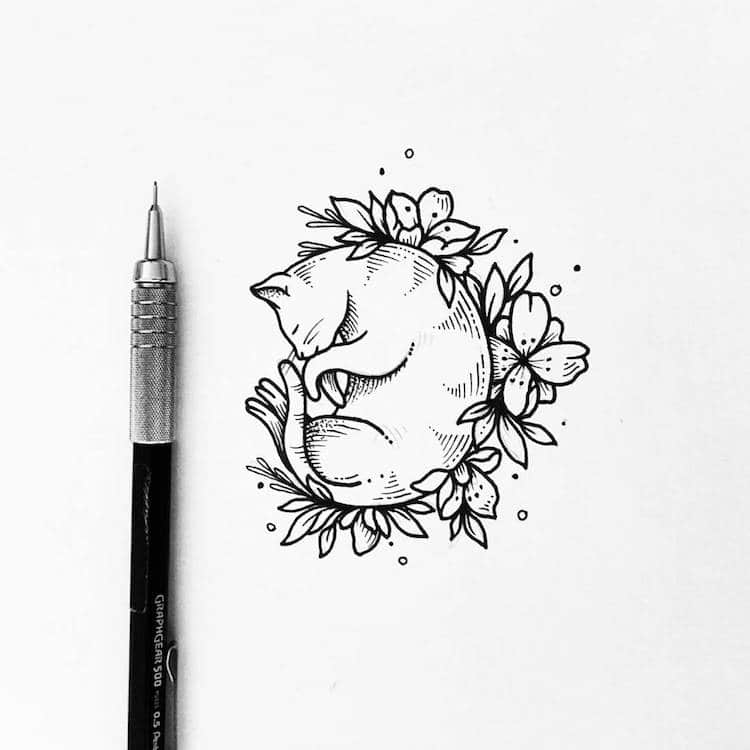 милые рисунки черной ручкой для срисовки