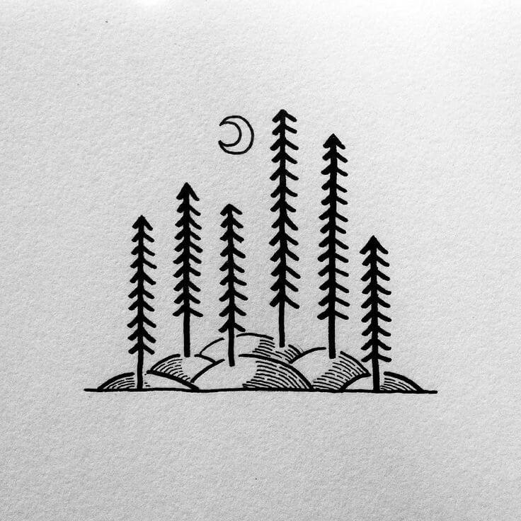 легкие рисунки для срисовки синей ручкой