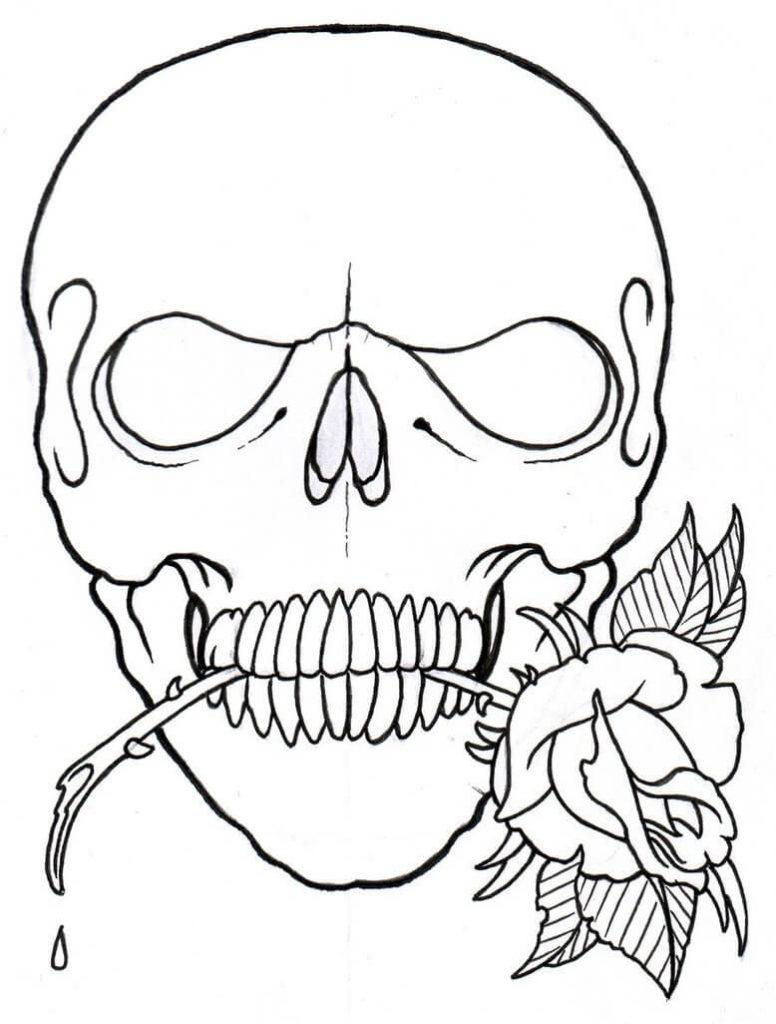 череп для срисовки легкие цветок