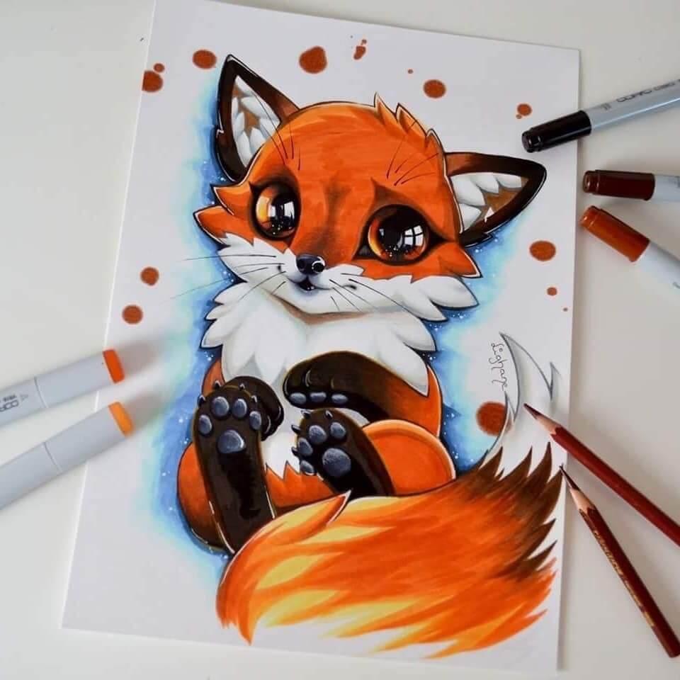 картинки для срисовки легкие лиса