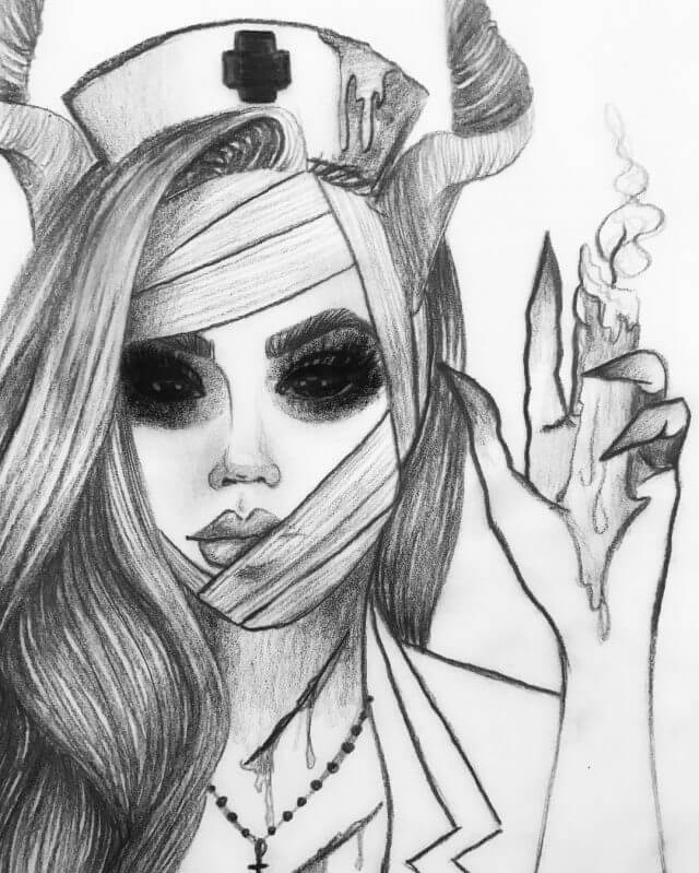 картинки для срисовки демоны без глаз