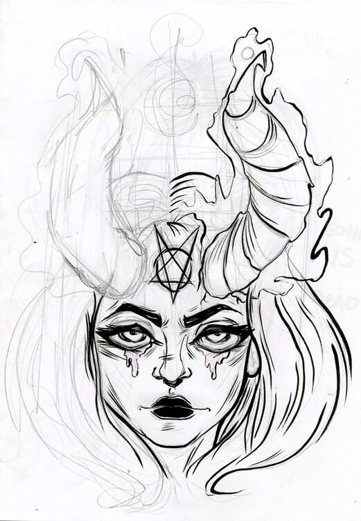 картинки для срисовки ангел и демон легкие