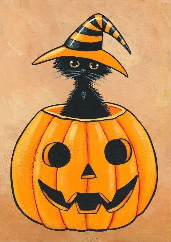 картинки на хэллоуин для срисовки кот черный
