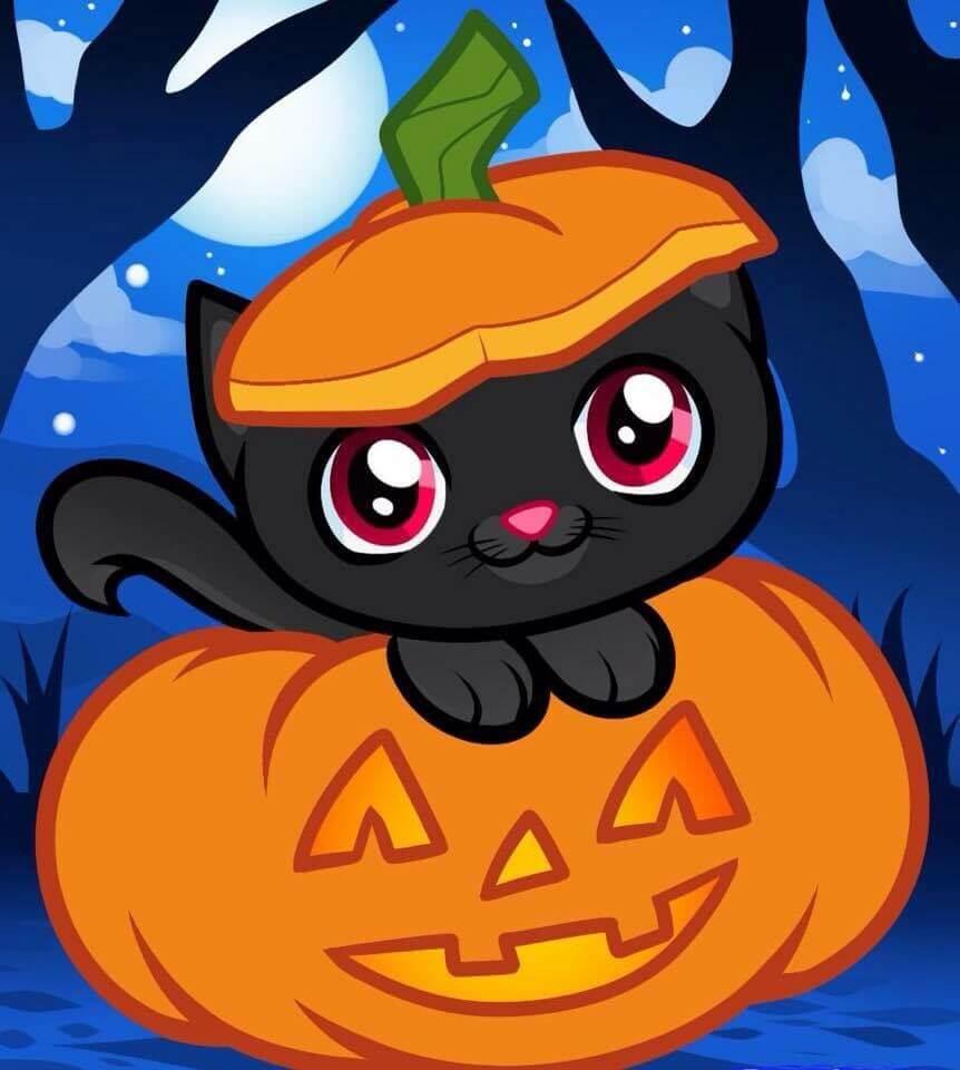 картинки на хэллоуин для срисовки кот на тыкве