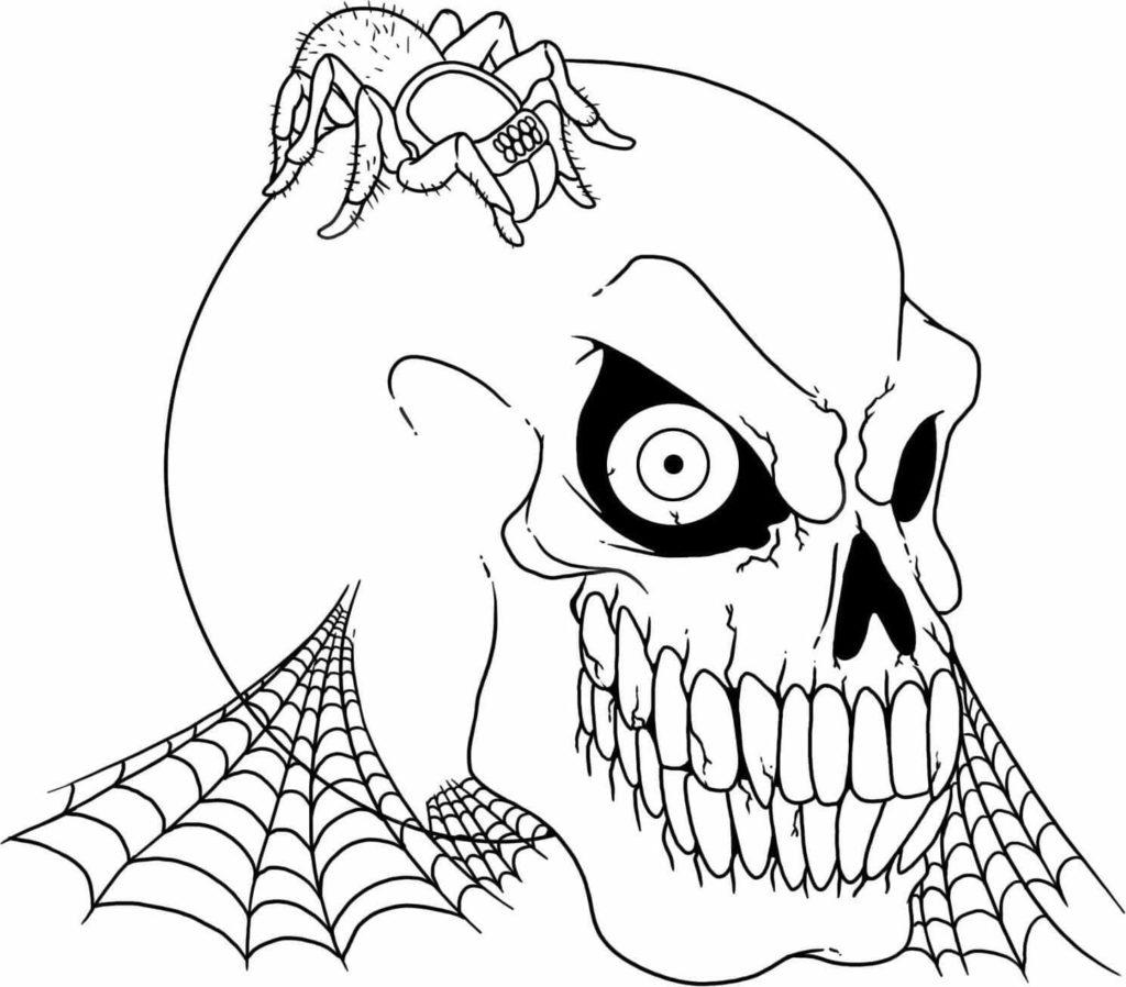 картинки на хэллоуин для срисовки череп паутина