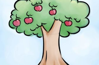 красивые деревья для срисовки яблоня