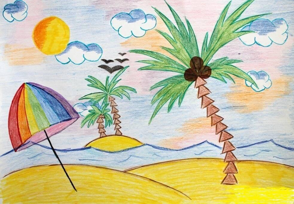 летние картинки для срисовки пальма