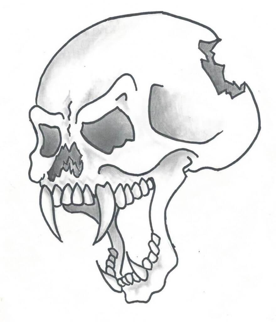 череп рисунок легкий для срисовки
