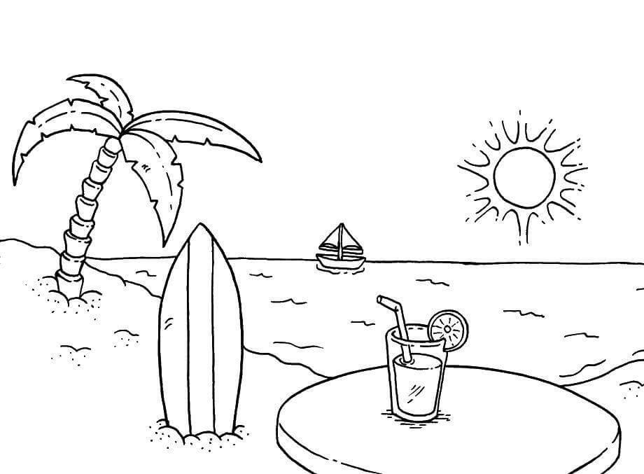 летние рисунки для срисовки пальма солнце