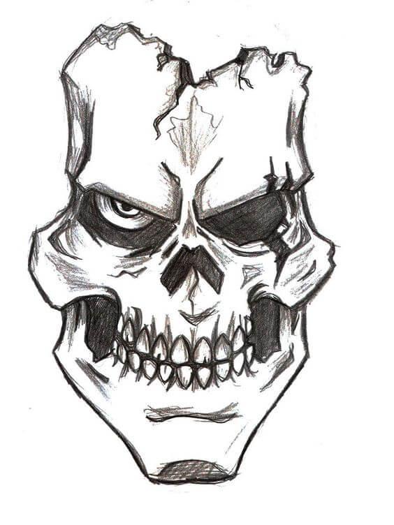 рисунки для срисовки черепа