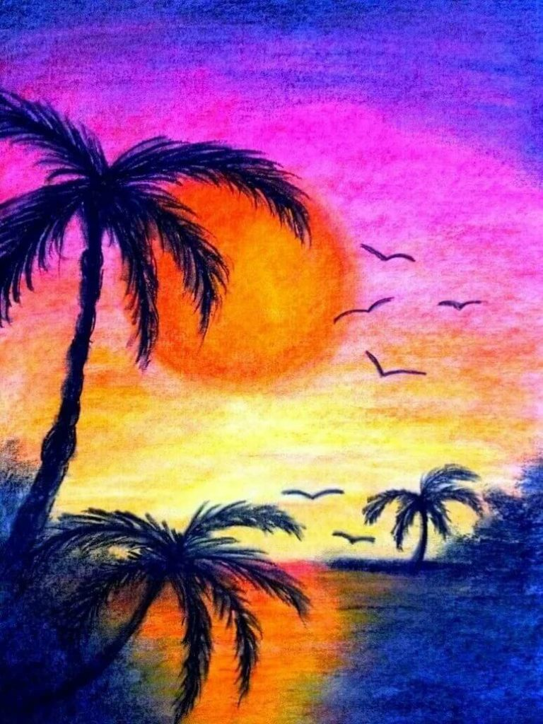 рисунки лето для срисовки закат