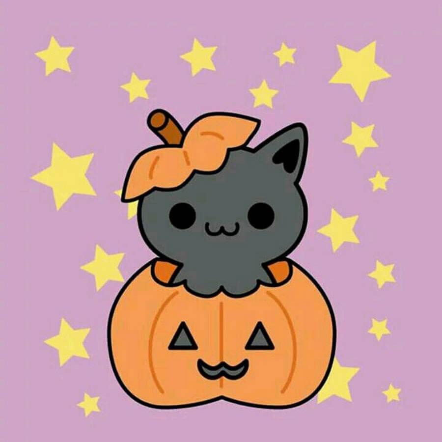 картинки на хэллоуин для срисовки серый кот