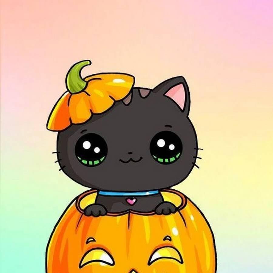 картинки на хэллоуин для срисовки котики