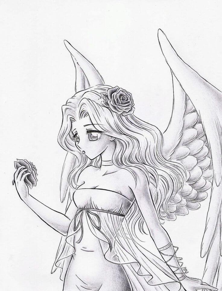 рисунки ангела с крыльями для срисовки