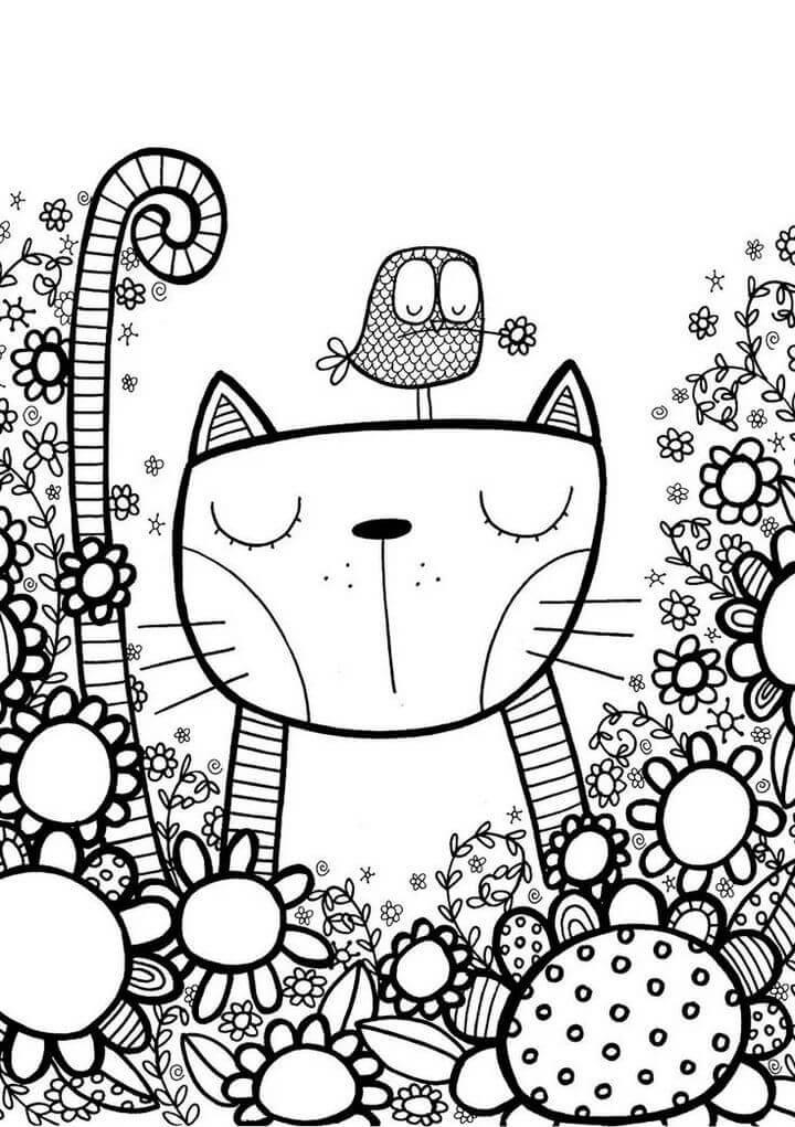 картинки антистресс для срисовки легкие кот