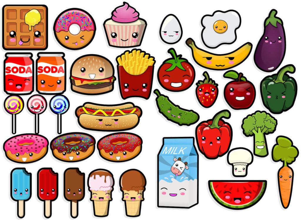 милые рисунки для срисовки еда с глазками