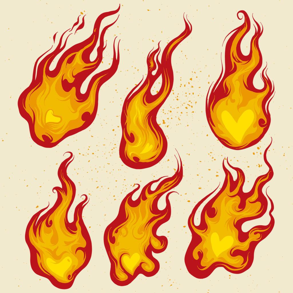 картинки огня для срисовки много