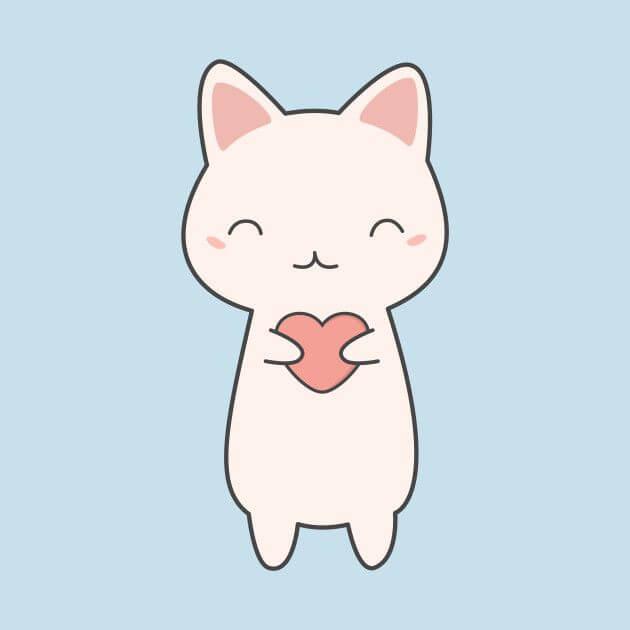 мордочка кошки для срисовки с сердечком