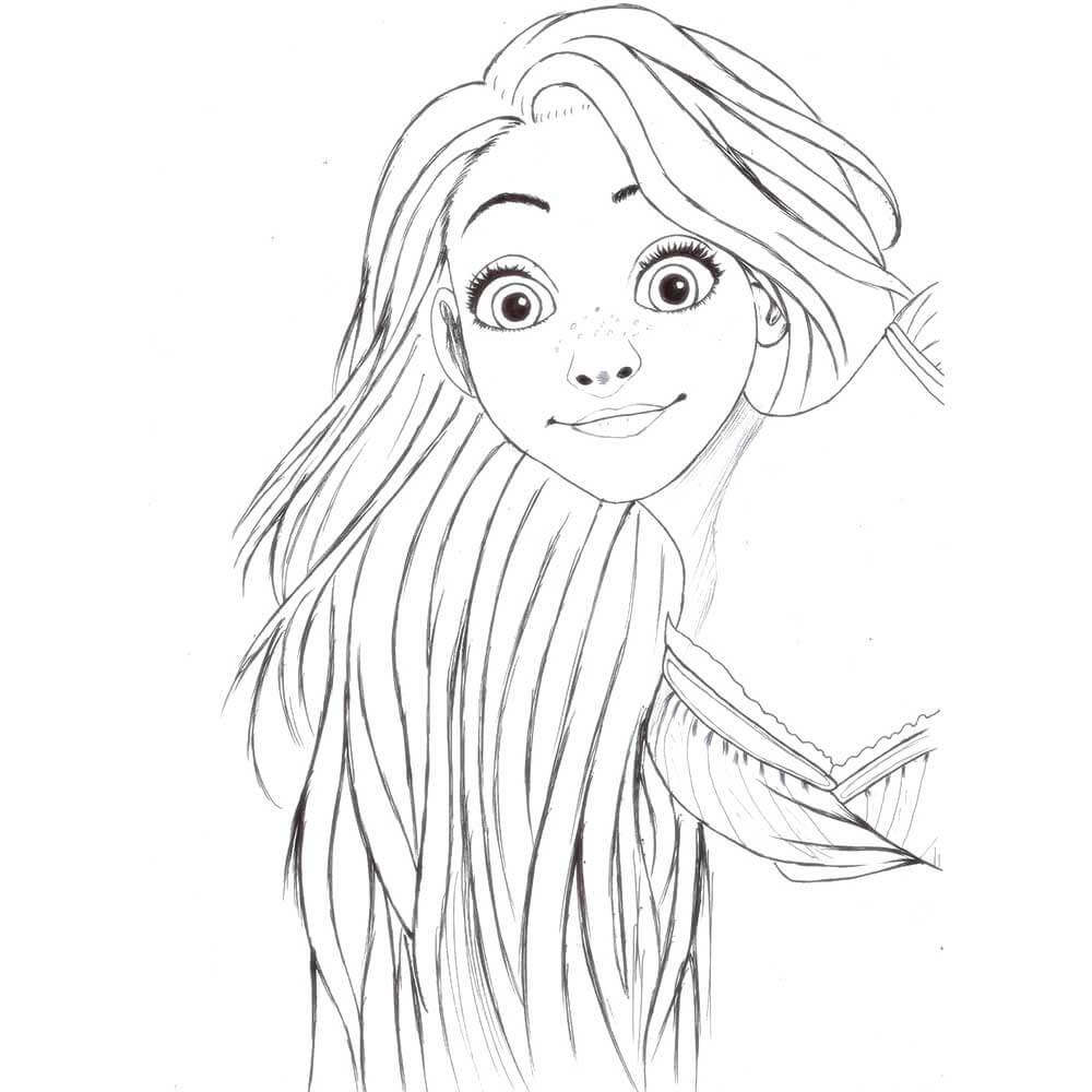 рисунки рапунцель для срисовки карандашом