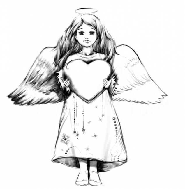 ангел для срисовки легкий