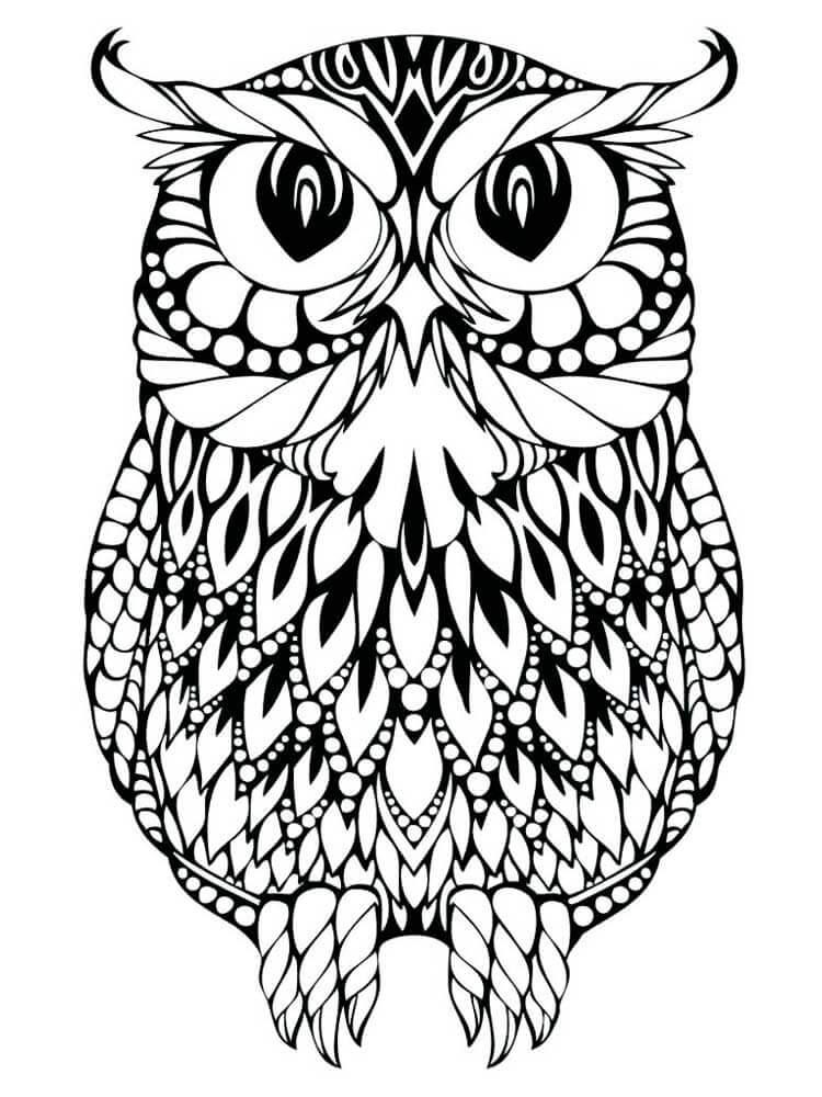 рисунки антистресс легкие для срисовки для начинающих сова