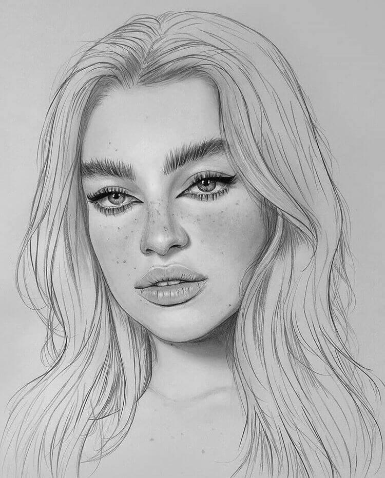 простые портреты для срисовки девушки