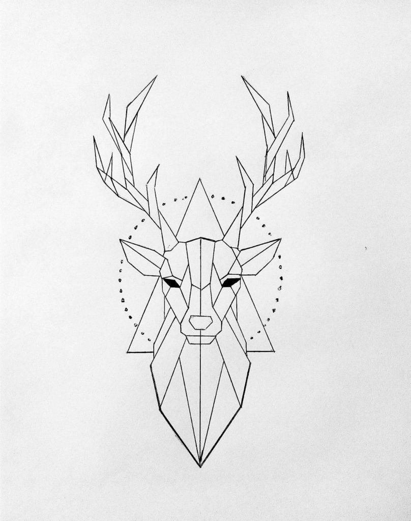 геометрические картинки для срисовки олень