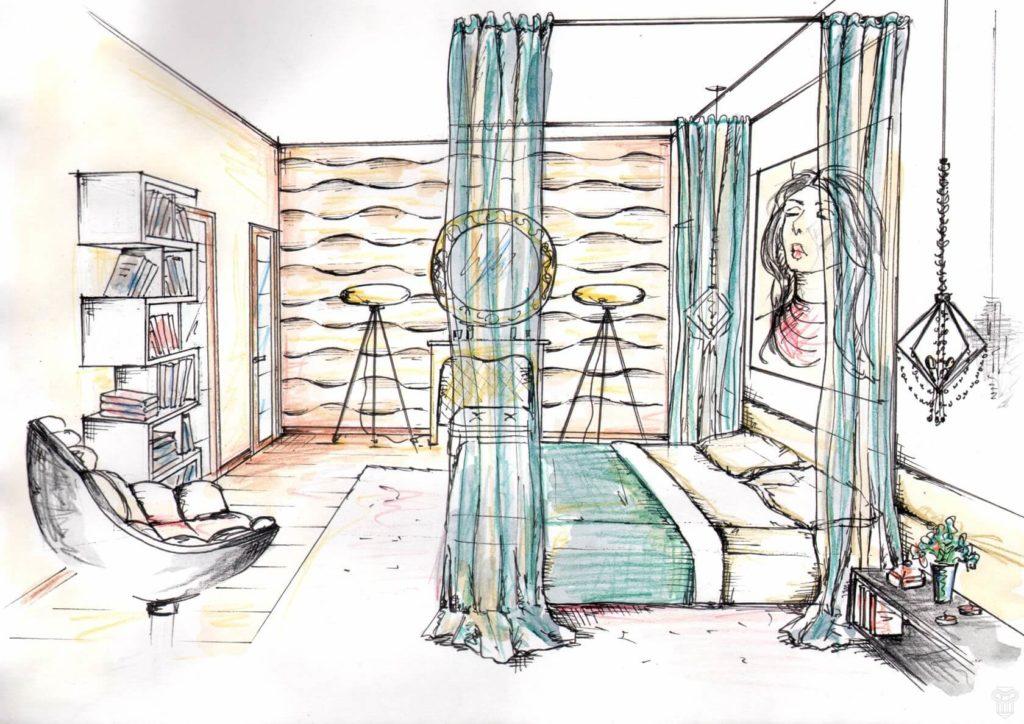 рисунок комнаты для срисовки зеленая