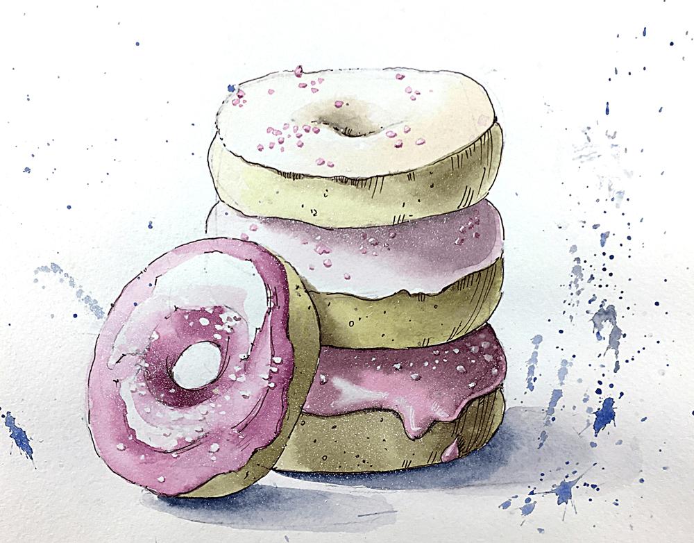милые пончики для срисовки легкие