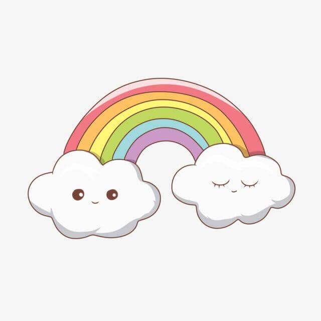 рисунки радуги для срисовки облако