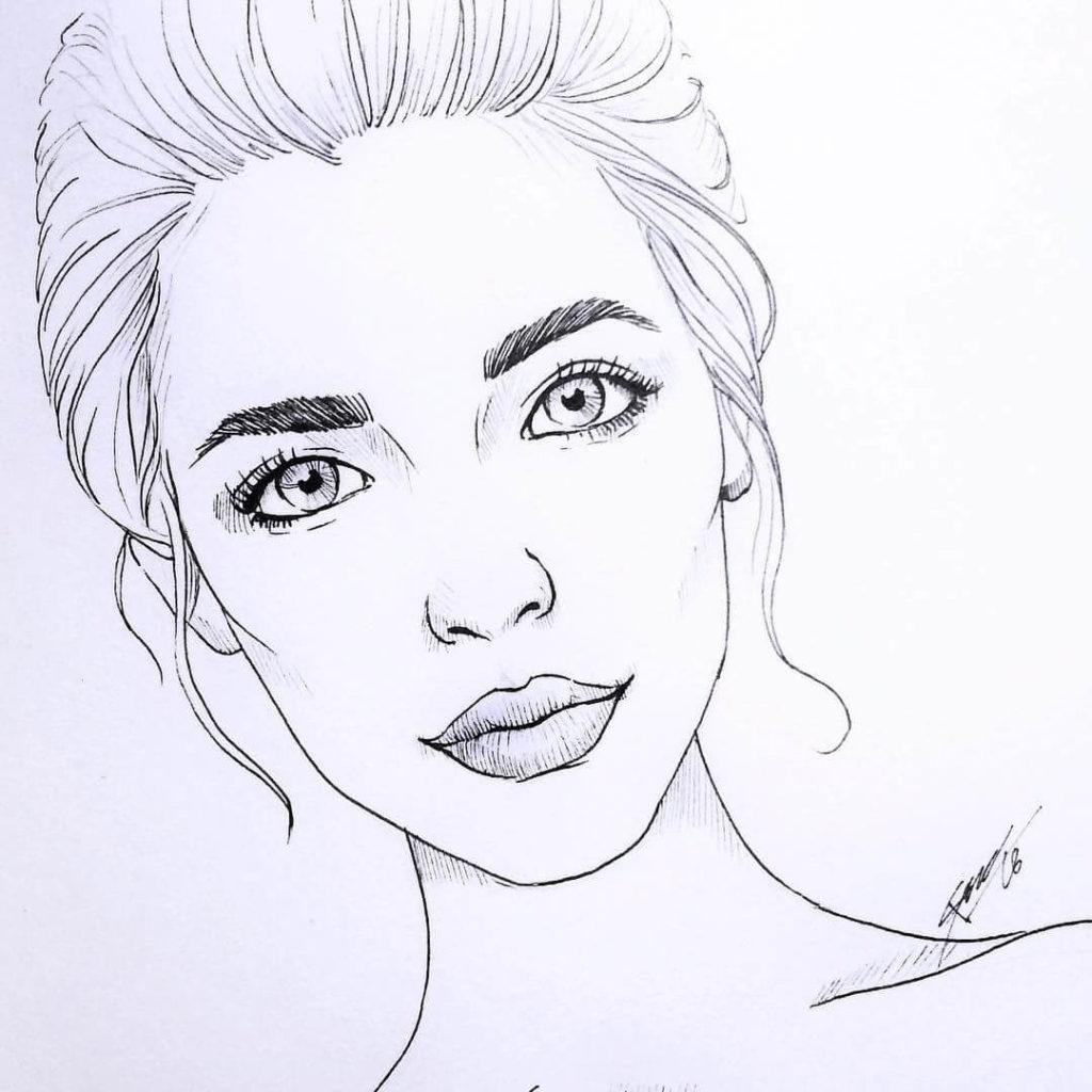 простые портреты для срисовки девушка