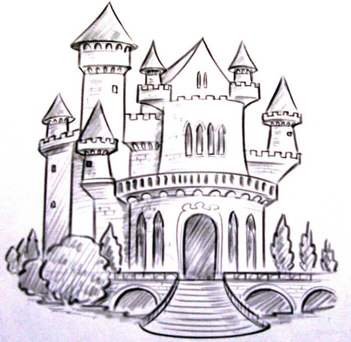 картинки для срисовки замок начинающим