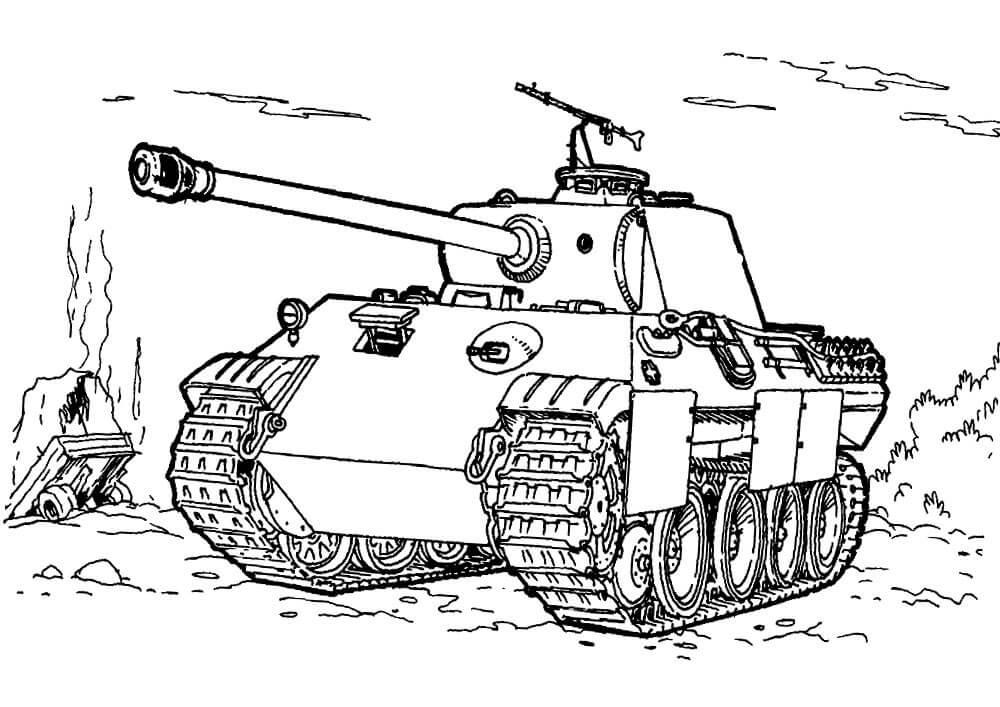 танк для срисовки карандашом