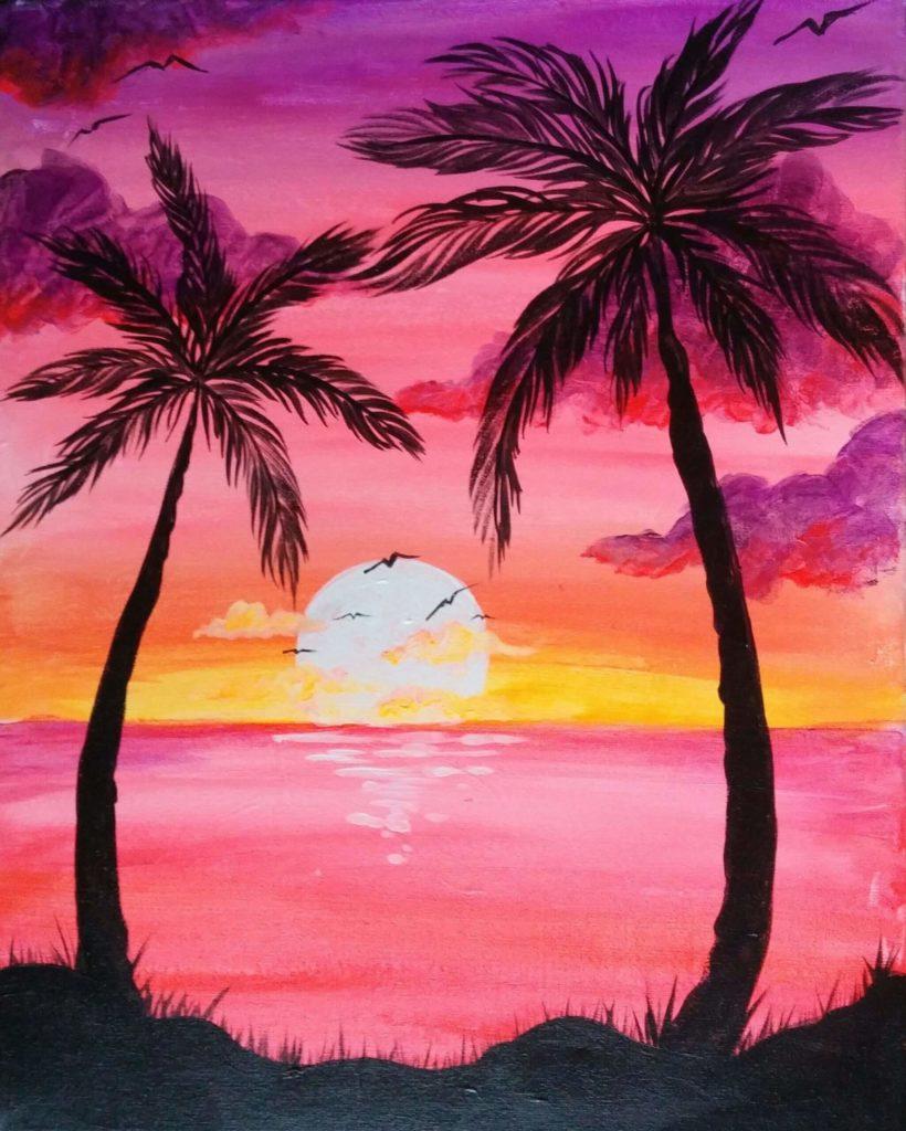 срисовки заката красивые