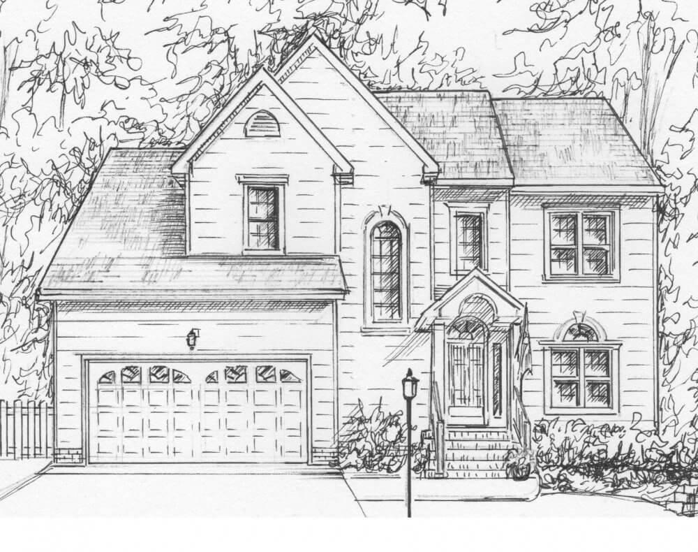 дом для срисовки карандашомдашом