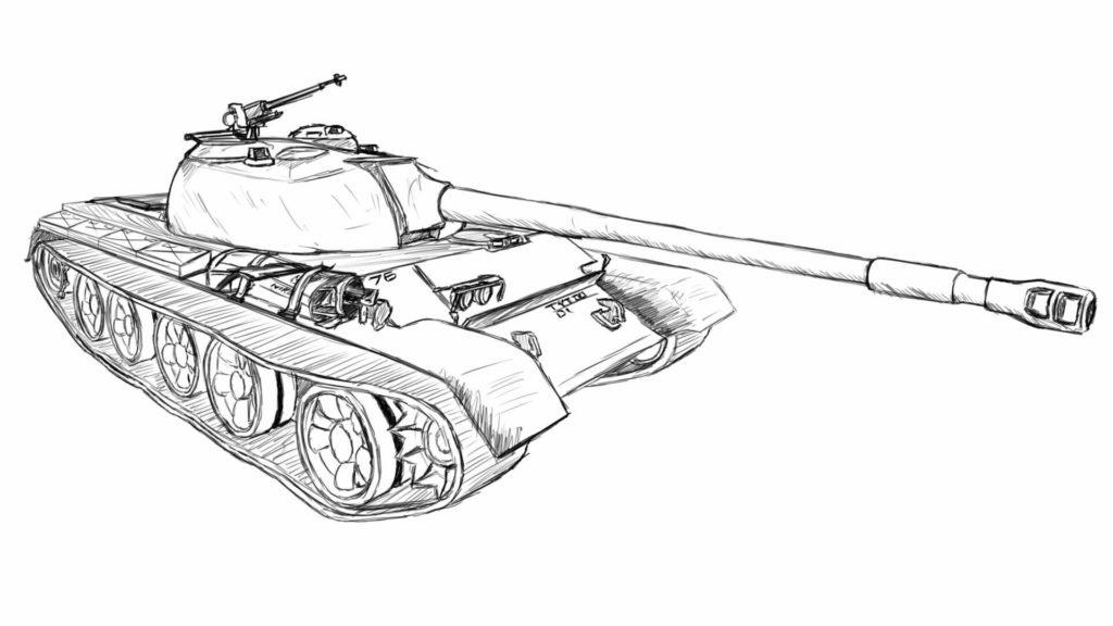 танк для срисовки детям
