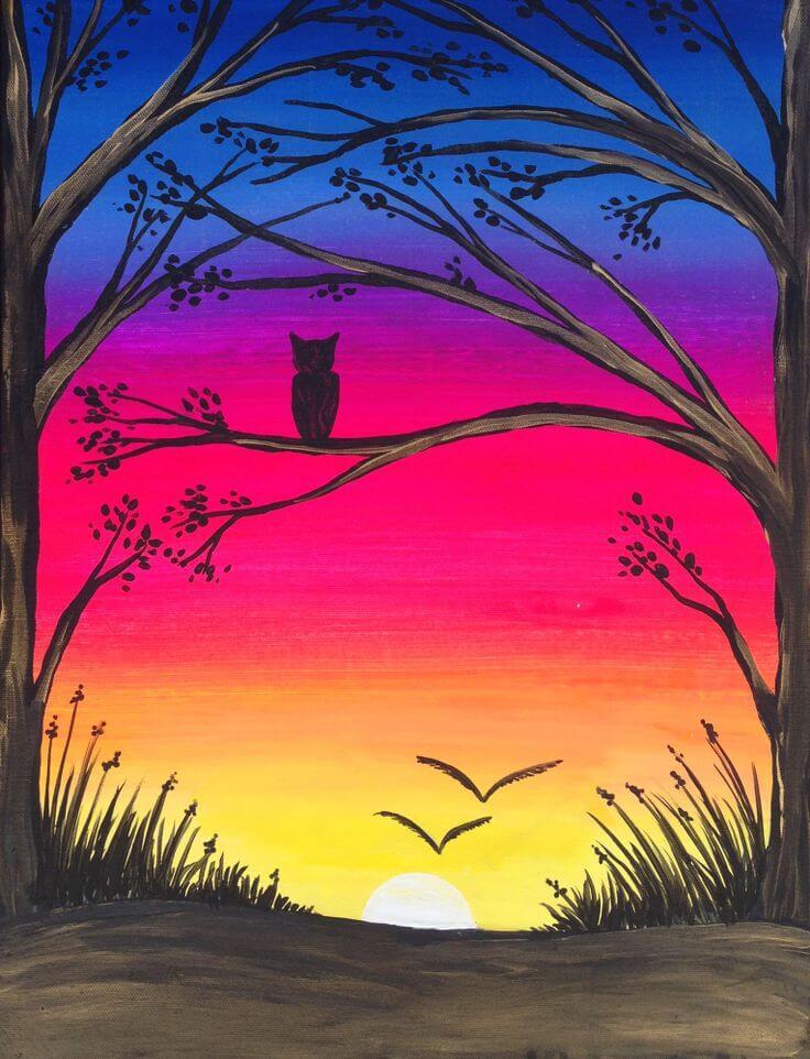 рисунки для срисовки закат